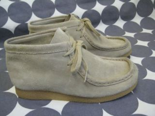Clarks Wallabees Shoes Kids Sz 2 Tan Sand Suede High Top Boots Boy Girl EUR 33