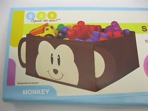 New Monkey Fabric Storage Bin Great for Kids Room Toys Clothes Organization