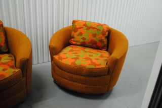 Set of 3 Round Wheel Funky 70's Sear Roebucks Fabric Living Room Chair Chairs