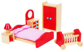 Lelin Wooden Pink Bedroom Playset Childrens Kids Pretend Doll House Furniture