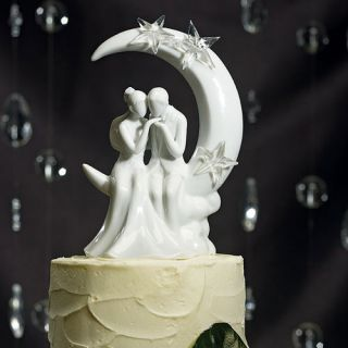 """Written in The Stars"" Romantic Bride Groom Wedding Cake Topper Couple Moon"