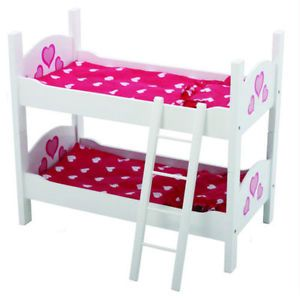 American Girl Doll Kids Bunk Bed Children Girls Bedding Furniture Wooden Toy