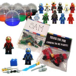 12 Lego Ninjago Figure Men Birthday Party Favor Bags Capsules Tags