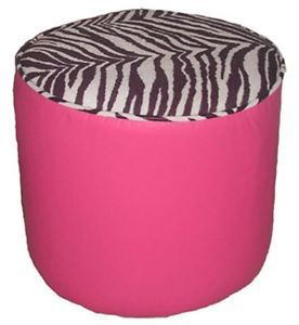 ... Zebra And Pink Round Ottoman High Heel Shoe Chair Footstool ...