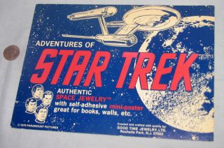 Store Display for Jewelry Star Trek '76 Vintage Enterprise Kirk Spock McCoy Sign