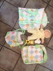 Vintage 1985 Cabbage Patch Kids Doll Preemie 1983 Diaper Bag 1982 Sleeping Plus