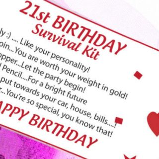 16th 18th 21st Birthday Gift Survival Kit Card Personalised Present Him Her