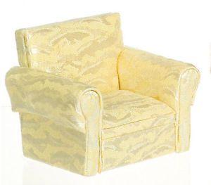 Doll House Mini Plush Sofa Coach Living Room Chair Cream w Matching Pillow