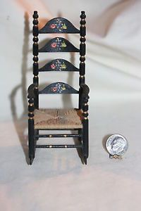 Miniature Dollhouse Pennsylvania Dutch Ladderback Rocking Chair Tole Paint