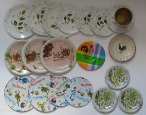 20 Vtg Tin Litho Doll Kids Tea Set Plates Saucers Mary Poppins Rooster Paris Toy