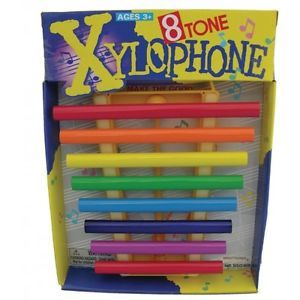 Kids Metal Rainbow Xylophone 8 Key Tone Musical Educational Preschool Toy