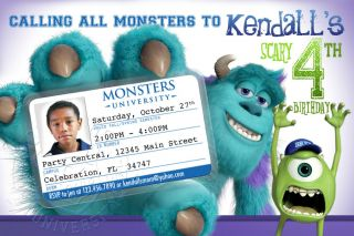 Monsters University 1 Mike Wazowski Sully Birthday Party Invitation Printable