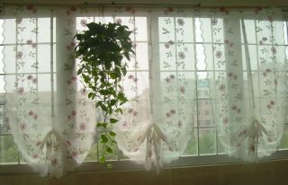 Hand Embroidered Pink Flowers Balloon Shade Sheer Voile Cafe Kitchen Curtain E01
