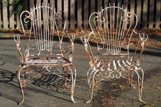 Vintage Wrought Iron Peacock Chairs Garden Patio