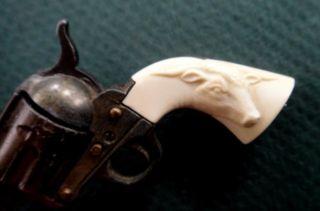 ♥vintage Mini Toy Cap Gun Pistol Faux Ivory Handle Repousse Bull Steer Cowboy