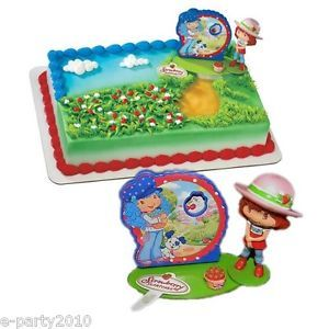 3pc Strawberry Shortcake Sweet Berries Cake Topper Set Birthday Party Supplies
