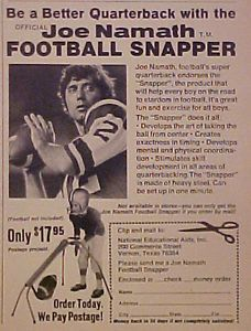 1971 Joe Namath New York Jets AFL NFL Football Snapper Kids Sports Toy Trade Ad