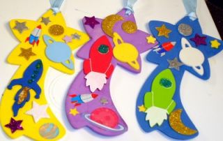12 Space Party Favors Shooting Star Foam Bookmarks Ribbons Rockets New Handmade