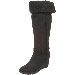 New Unionbay Womens Cameron Suede Knee Fur Black Boots 6 5 7 7 5 8 8 5 9 9 5 10
