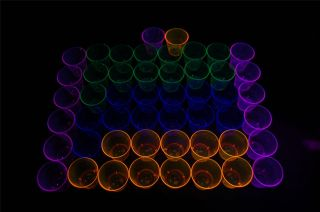 1oz 50 Count Neon Assorted Blacklight Reactive Plastic Shot Glasses