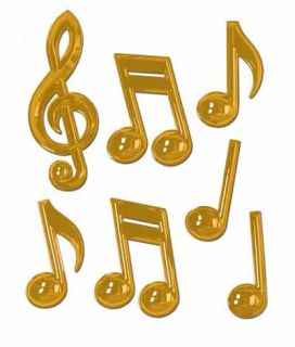 Pack of 7 Gold Plastic Music Notes Party Decoration