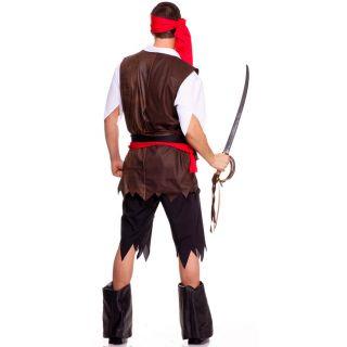Six Piece Men's Pirate Set w Head Scarf Shirt Vest Tattered Pants Sash Belt