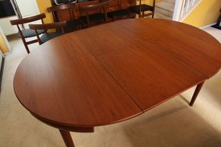 danish mid century modern walnut rosewood dining table 6 cha