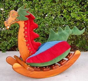 "46"" Fantazzimals Wooden Rocking Horse Dragon Child Toddler Ride on Toy Sgnd Ed"