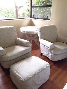 Set of 2 Anthropologie Rachel Ashwell Shabby Chic Beecroft Chairs Plus Ottoman