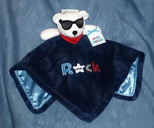 Okie Dokie Baby Boys Blue Dog Rock Star Satin Plush Security Blanket Toy New