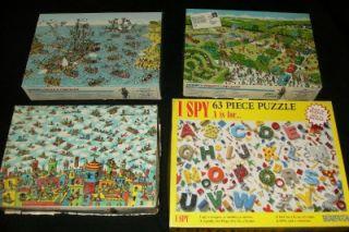 4 Where's Waldo I Spy Jigsaw Puzzle Children Toy Lot 100 63 Piece Child Set