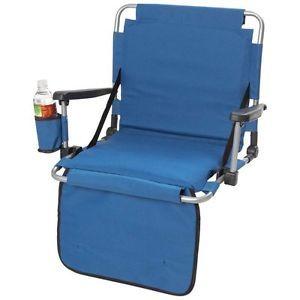 Blue Stadium Seat with Arm Rest Drink Holder Pockets Bleacher Chair Cushion Fold