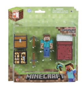 "Minecraft Core Player Survival Pack 3"" Steve Workbench Pick Axe Sword Bed Chest"