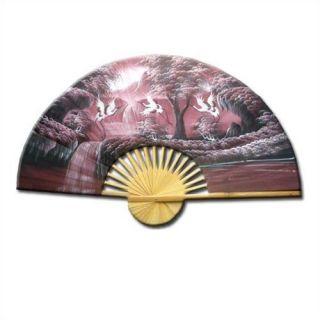 Oriental Furniture Cranes Over Waterfall Oriental Fan