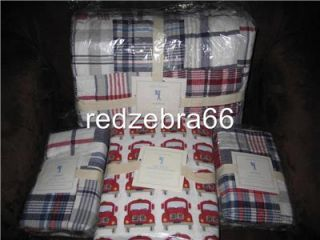Pottery Barn Kids Red Navy Madras Full Quilt Sham Fire Truck Sheet Set 7 PC New