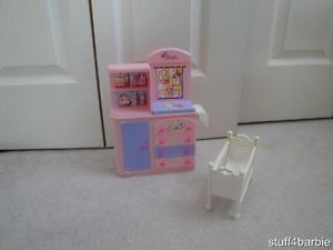 Barbie Kelly Doll House Baby Nursery Day Care Furniture Lot Crib Cabinet