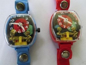 2 Vintage Child's Teeter Totter Seesaw Merry Toy Watches Working Blue Red