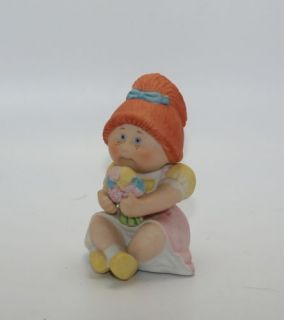 Vintage Cabbage Patch Kids Ceramic Red Hair Freckles Sitting Holding Flower Doll