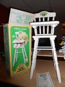 """1986 Vintage Cabbage Patch Kids Doll Wooden 26"""" inch High Chair 100 w Box RARE"""