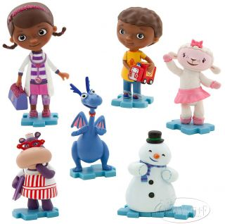 Disney Jr Doc McStuffins Donny Lambie Stuffy Chilly Hallie Figurine Playset New