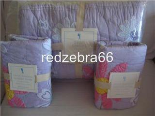 Pottery Barn Kids Daisy Garden Full Queen Quilt 2 Standard Shams Set Lavender