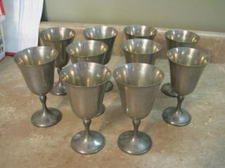 Queen City Silver Co Pewter Goblets Cups Vtg Set 10
