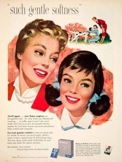 1957 Ad Vintage Kotex Napkins Pads Jon Whitcomb Feminine Hygiene Mother Daughter