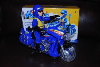 Kids Fun Toy Light Sound Police Universal Rotating Battery Operated Motorcycle