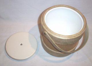 Vintage Ice Bucket with Woven Burlap Rattan Vinyl Covered Tiki Bar Accessory