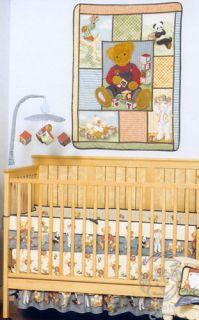 Teddy Bear 4 Piece Baby Crib Bedding Set Quilt Bumper