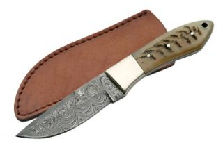 Damascus Deer Hunting Knife Hand Made w Real Rams Horn Fixed Blade Sheath
