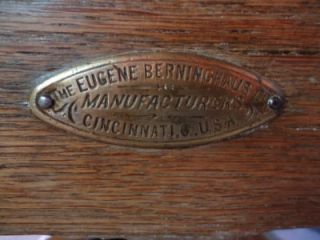 Antique Oak and Leather Barber Chair by The Eugene Berninghaus Co