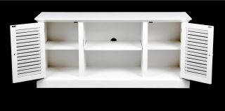 "Shabby Cottage Beach Chic White Shutters 50"" Flat Screen TV Cabinet Media Stand"