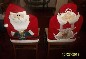 Set of 2 Vintage Christmas Santa Claus and Mrs Claus Chair Covers